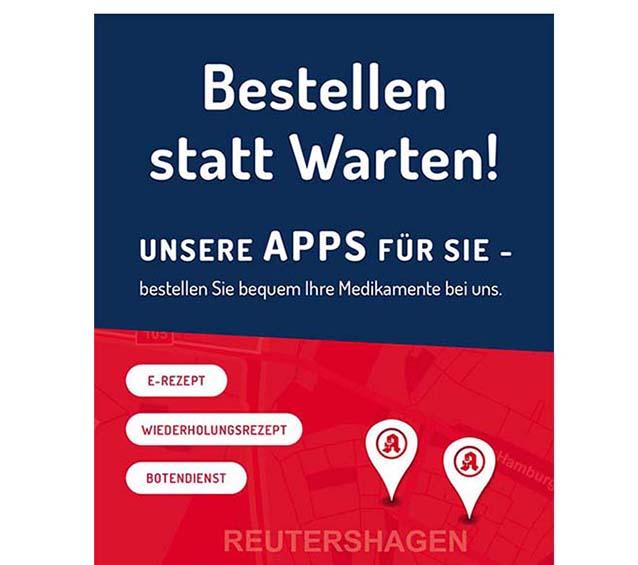 Plakatmotiv zum Thema Vorbestellen per APP in den Gesundcenter Apotheken in Rostock